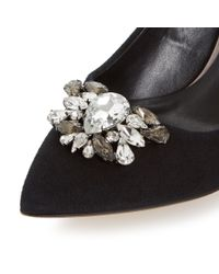 Dune - Black Belles Jewel Trim Mid Heel Loafers - Lyst