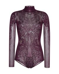 Zuhair Murad - Purple Lace Knit Bodysuit - Lyst
