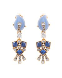 Oscar de la Renta | Blue Art Deco Crystal Drop Earrings | Lyst