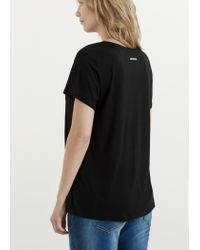Violeta by Mango | Black Soft Fabric T-shirt | Lyst