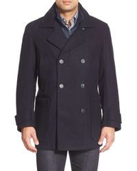 Marc New York | Blue By Andrew Marc 'mulberry' Tall Double Breasted Wool Blend Peacoat for Men | Lyst