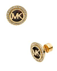 Michael Kors | Metallic Goldtone And Tortoise Mk Stud Earrings | Lyst