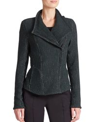 Akris Punto - Green Tweed Moto Jacket - Lyst