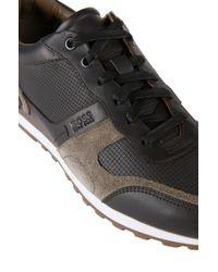 BOSS Brown Leather Sneakers: 'runbio' for men