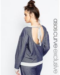 ASOS | Blue Lounge Top With Contrast & Tie Back | Lyst