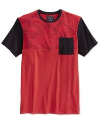Guess - Red Stream Colorblocked T-shirt for Men - Lyst