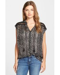 Lucky Brand | Black Embroidered Inset Floral Print Top | Lyst