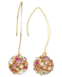 Guess | Metallic Gold-tone Fireball Pink And Lilac Crystal Drop Earrings | Lyst