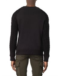 Balmain - Black Cotton And Cable-Knit Wool Sweater for Men - Lyst