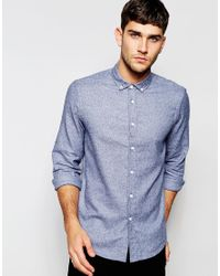 ASOS - Shirt In Blue Marl With Long Sleeves for Men - Lyst