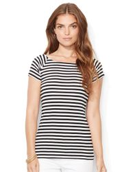 Lauren by Ralph Lauren | Black Petite Striped Ballet-neck Shirt | Lyst