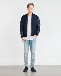 Zara | Blue Combination Bomber Jacket for Men | Lyst
