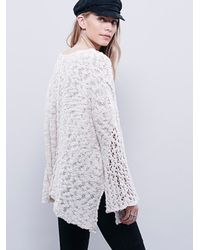 Free People - White Womens Pretty Pointelle Vee Sweater - Lyst