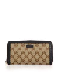 Gucci   Beige Gg Classic Zip Around Wallet   Lyst