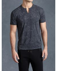 John Varvatos - Blue Burnout Henley for Men - Lyst