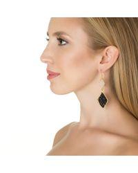 Wendy Mink | Metallic Black Onyx & Moonstone Diamond Shaped Earring | Lyst