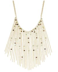 INC International Concepts - Metallic Gold-tone Olive And Tiger's Eye Beaded Fringe Necklace - Lyst