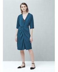 Mango - Blue Ruched Detail Dress - Lyst