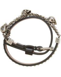 Alexander McQueen - Black Gold Charm Chain Wrap Bracelet - Lyst