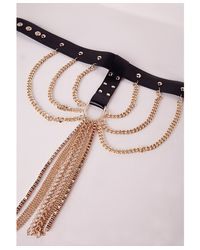 Missguided | Metallic Harness Style Chain Drop Choker Gold | Lyst