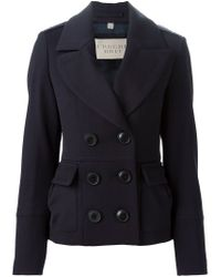 Burberry Brit - Blue Double-Breasted Cotton and Wool-Blend Jacket - Lyst