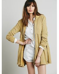 Free People | Natural Tiered Trapeze Zip Sweatshirt | Lyst