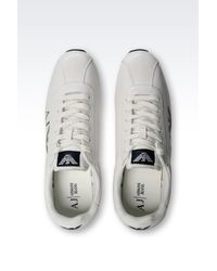 Armani Jeans - White Leather Low-Top Sneakers for Men - Lyst