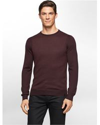 Calvin Klein | Brown White Label Merino Wool Textured Block Stitch Sweater for Men | Lyst