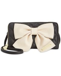 Betsey Johnson | Black Bow Zip Wallet Crossbody | Lyst
