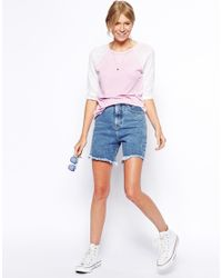 ASOS - Pink Baseball Top With Unicorn Back Print - Lyst