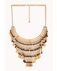 Forever 21 | Metallic Free Spirit Beaded Fringe Necklace | Lyst