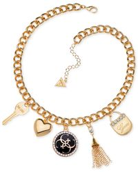 Guess | Metallic Gold-tone Crystal And Enamel Charm Necklace | Lyst