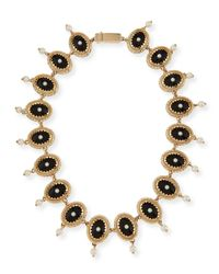 Givenchy | Black Oval Crystal And Pearly Necklace | Lyst