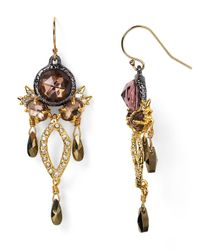 Alexis Bittar | Metallic Elements Rose Cut Pink Tourmaline & Pyrite Chandelier Earrings | Lyst