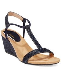 Style & Co. | Blue Style&co. Mulan2 Embellished Evening Wedge Sandals, Only At Macy's | Lyst