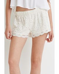 Forever 21 - Natural Floral Lace Shorts - Lyst