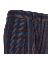 Paul Smith | Blue Women's Checked Pleat-front Cotton-linen Trousers | Lyst
