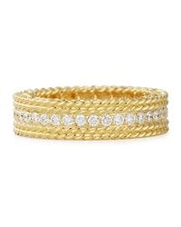 Roberto Coin - Metallic Princess 18k Gold Petite Ring With Diamonds - Lyst