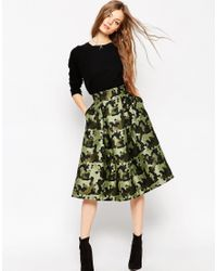 ASOS | Multicolor Full Midi Skirt In Camouflage Jacquard | Lyst
