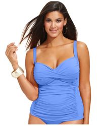 La Blanca - Blue Plus Size Twist-front Ruched Tankini Top - Lyst