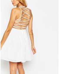 ASOS - White Skater Dress With Lace Up Back - Lyst