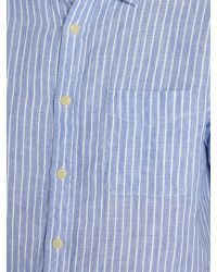 Howick | Blue Sackville Stripe Short Sleeve Linen Shirt for Men | Lyst
