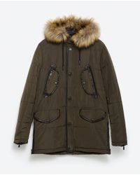 Zara | Natural 3/4 Length Coat With Faux Fur Hood for Men | Lyst