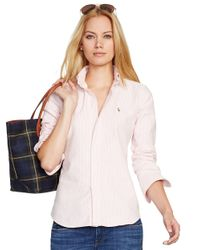 Polo Ralph Lauren | Pink Custom Fit Striped Shirt | Lyst