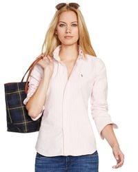 Polo Ralph Lauren - Pink Custom Fit Striped Shirt - Lyst