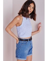 Missguided - Printed Broderie High Neck Crop Top Blue - Lyst