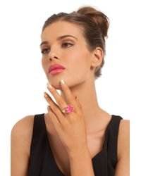 Trina Turk | Pink Cube Ring W Pave Details | Lyst