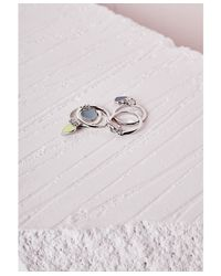 Missguided - Multicolor Heart Charms Stacking Ring Set Multi - Lyst
