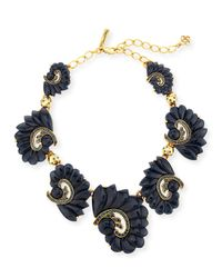 Oscar de la Renta | Blue Resin Swirl & Crystal Necklace | Lyst