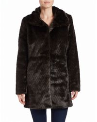 Ellen Tracy | Brown Faux-fur A-line Coat | Lyst